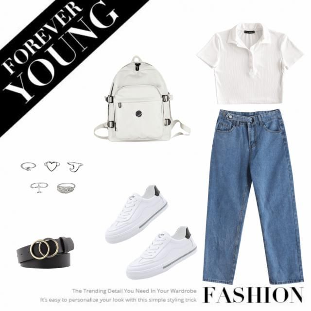 mom jean with white tank top and sneakers. accessories- rings with a belt and a bag