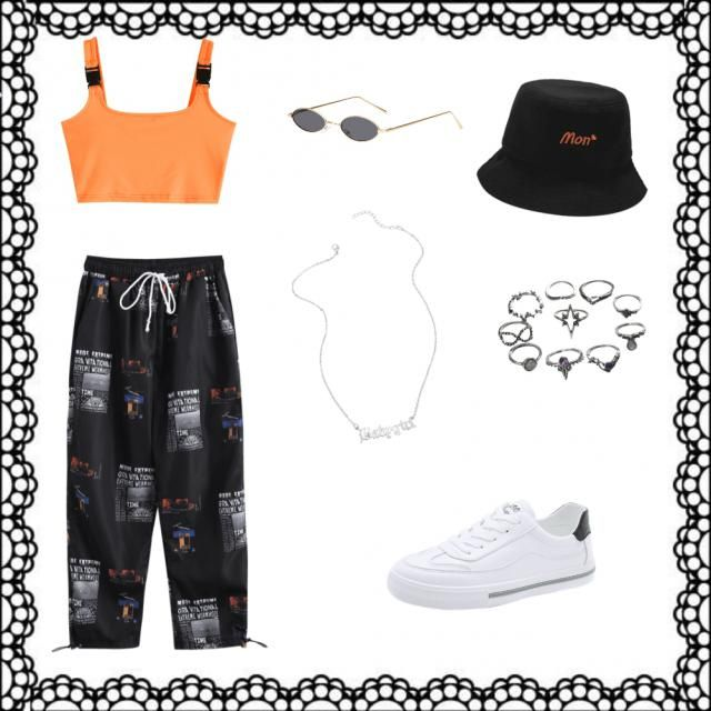 orange crop tank top with black clips black patterned pants white and black shoes silver babygirl necklace  silver ring…