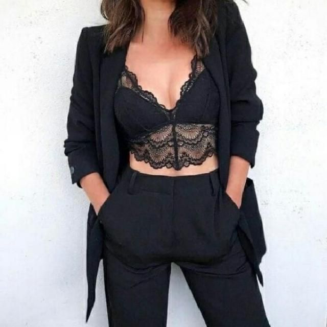 Update your casual sexy everyday look by getting a lace tank top under a black chic blazer and black pants      …
