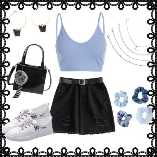 Blue and black chic outfit.