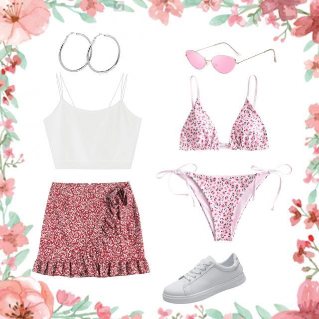 Fun hot beach day, stylish + cute🌺 Pink flowers + white fabrics...