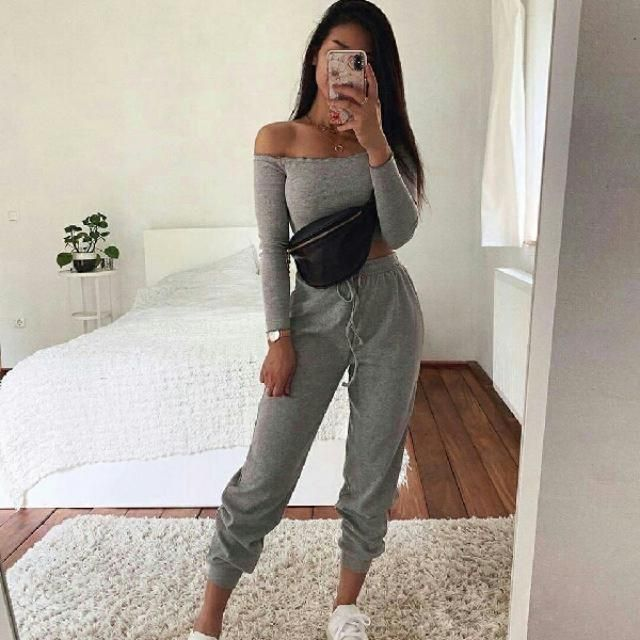 Stay comfy and stylish with ribbed knit two piece set