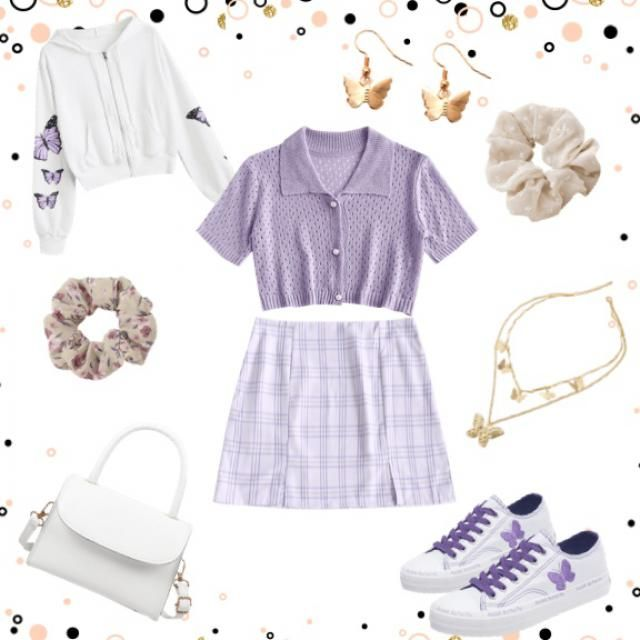 Cute purple and white outfit.