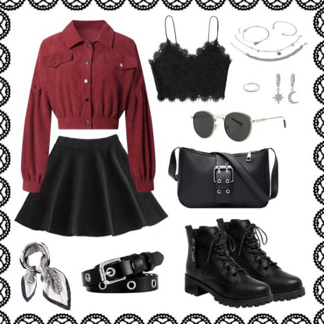 Scorpio zodiac outfit: Edgy but still cute. Black with silver accessories and a pop of maroon with the shirt. Gromme…
