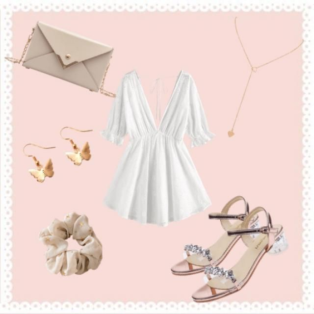 Cute white outfit.