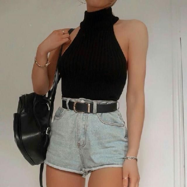 Keep it cool and stylish with this cute mock neck top abd denim shorts