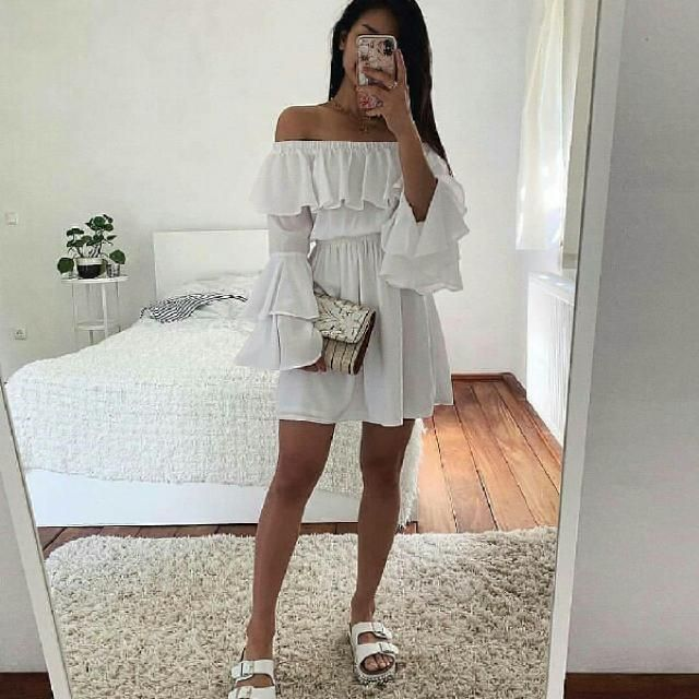 I adore this white off shoulder dress so soft and feminine