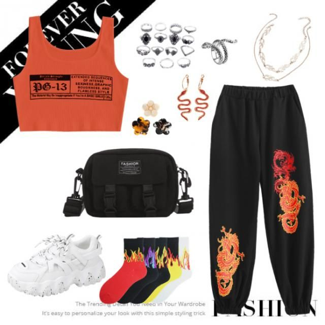 🐅a scarlet orange edgy look perfect for a comfy night out🐅 check out and follow my page for more⚡️           …