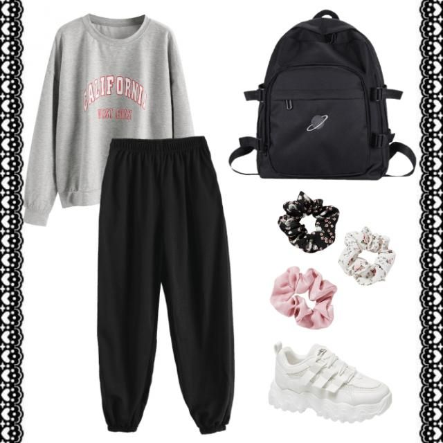 Fit for a lazier day at school 😪🌸🖤