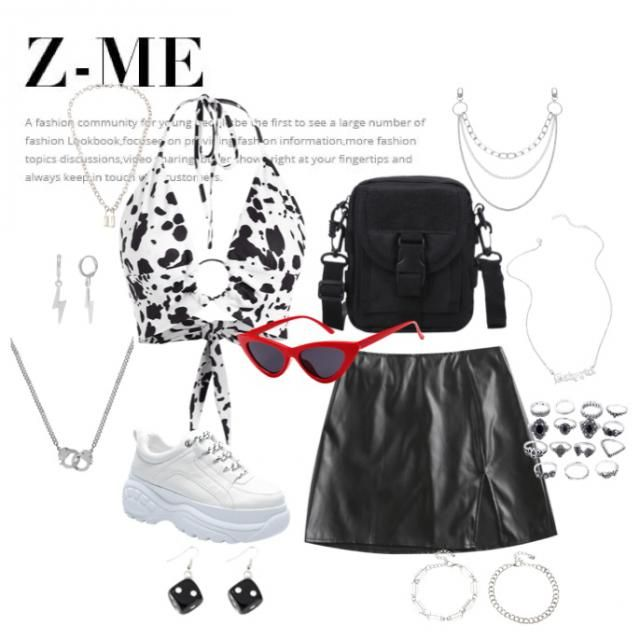 🌟a black and white edgy outfit i imagine being worn to coachella or some other fun music festival🌟 check out a…