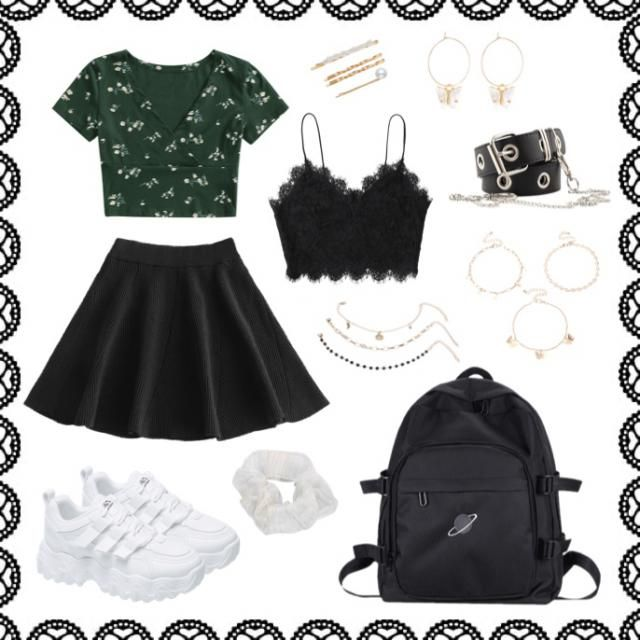 Back to school outfit: Cute and casual. Black accessories match black backpack and skirt. Gold jewelry compliment dar…