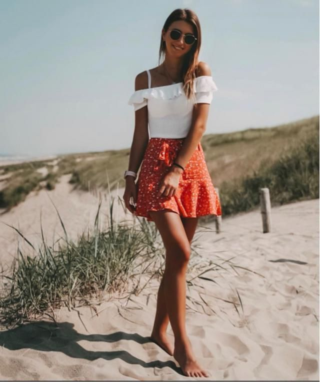 A short walk at the beach is always fun especially with cute skirt