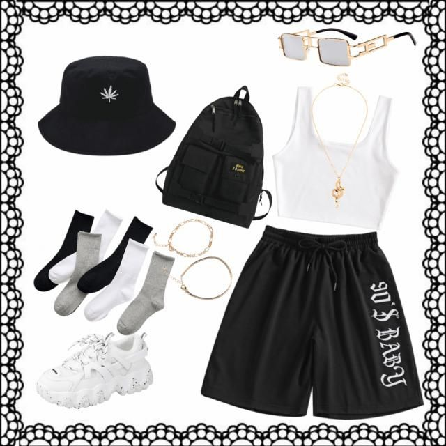 effortless, chilled, streetwear. black and white with accents of gold.