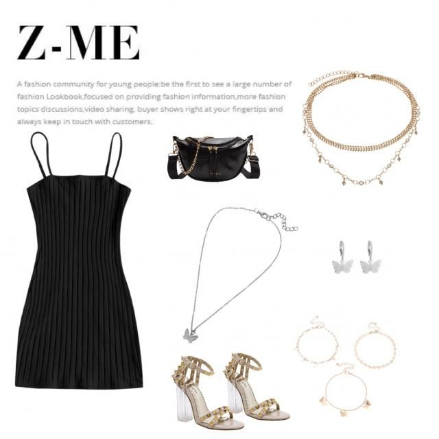 black tight dress, black bag is with gold chain, gold studded heals, silver butterfly necklace as well as silver butter…