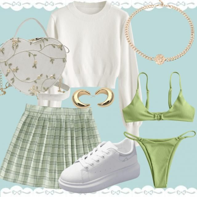 Trendy Green and white Leo inspired date look,perfect for any date!