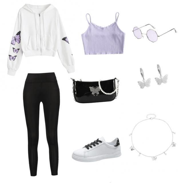 white crop sweater with purple and black butterflies  black leggings purple crop tank black white and silver purse whit…