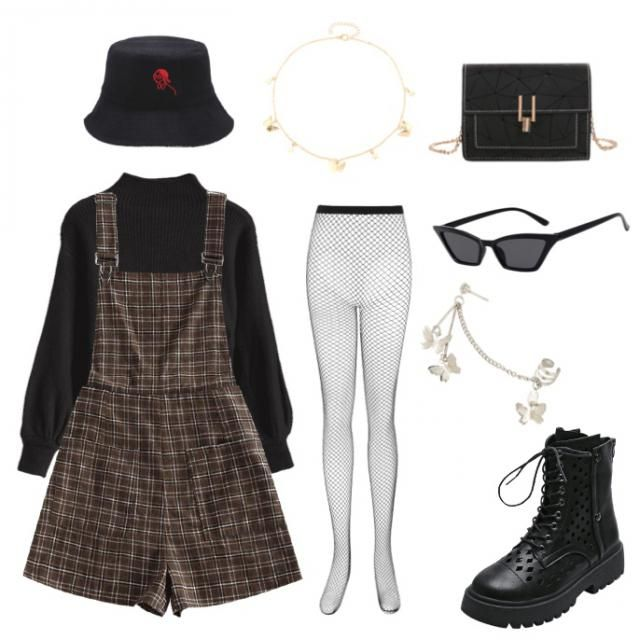 street wear, fall, black, dark academia, bucket hat, overalls