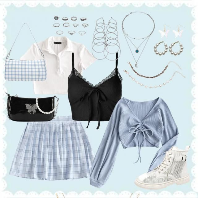 🪐a bunch of variations of outfits with this pleated baby blue skirt🪐 check out and follow my page for more!!✨ …