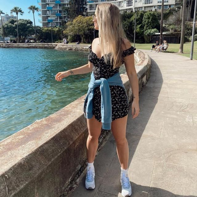 Loving the view and outside with cute floral dress