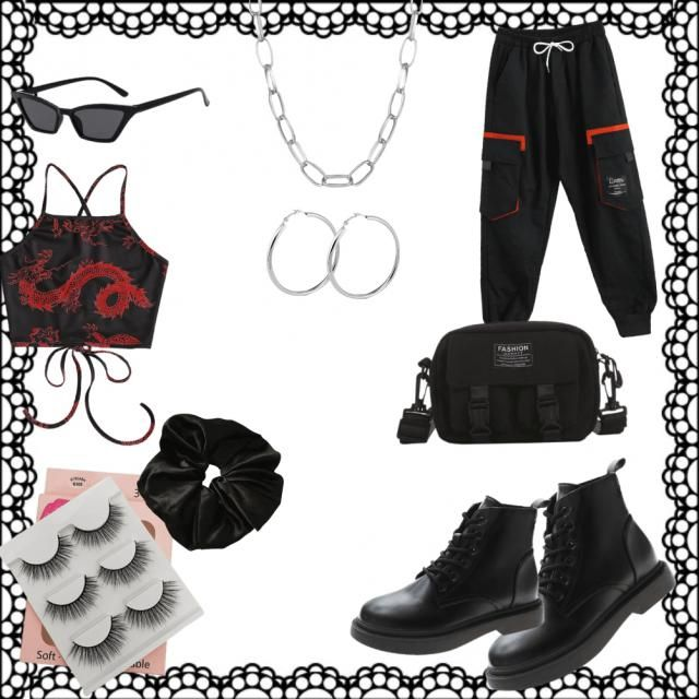 casual black and red look/ grunge/goth