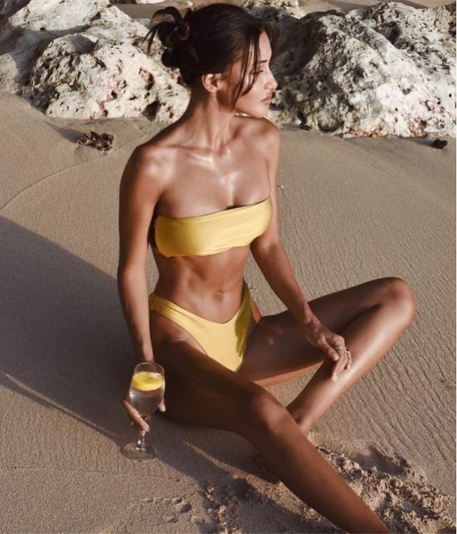 A nice drink at nice beach with cute bandeau bikini