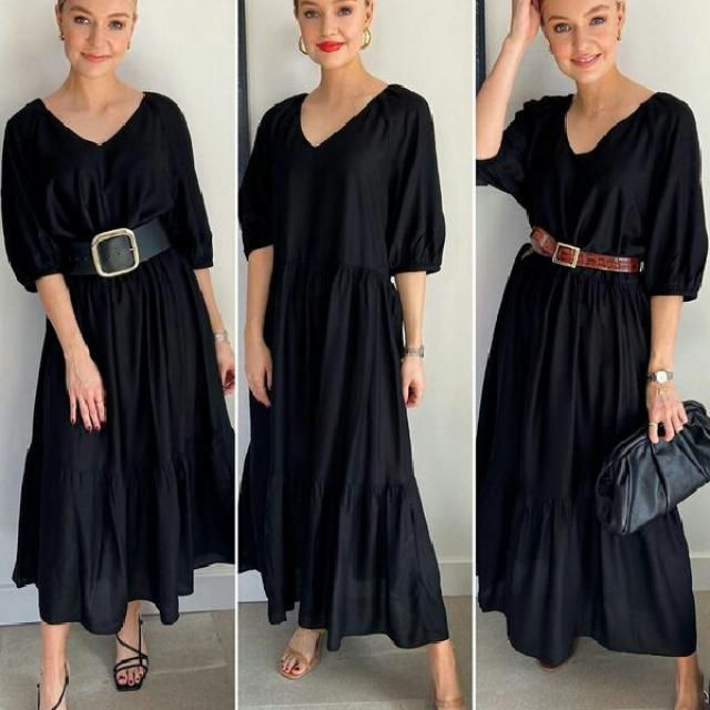 To add a finishing touch to your outfit belt your black dress at the waist