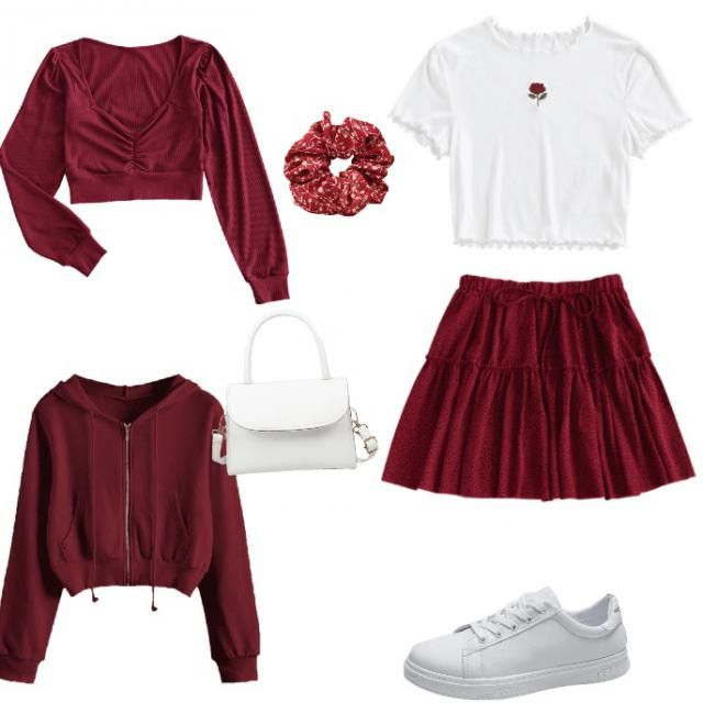 -red Cute red and white outfit ❤️ Let's make this a challenge: Design your very own outfit using only red and w…