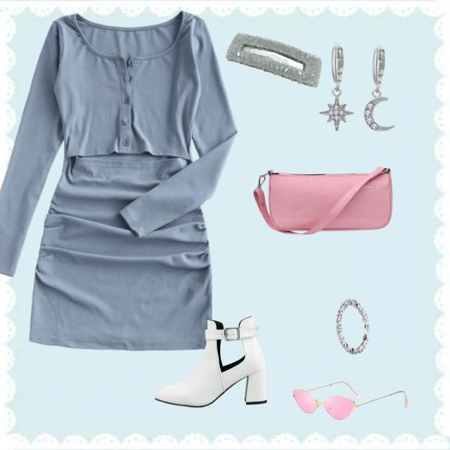 ★★Aquarius★★  This is a fun trendy outfit. The colors are blue, white, silver and a pop of pink.  This blue dress inspi…