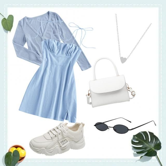 A cute and girly baby blue look