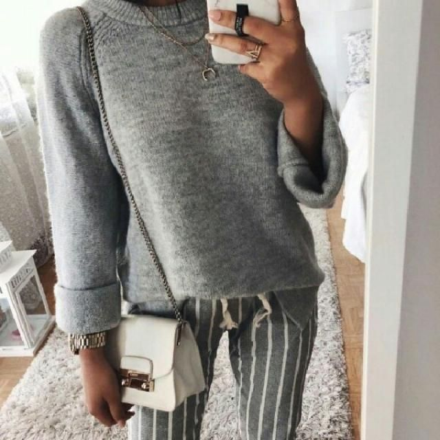 I love a simple outfit like this gray sweater with striped pants
