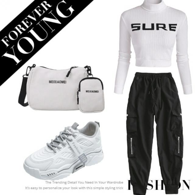 white mock neck top black cargo pants white sneakers and white crossway bags