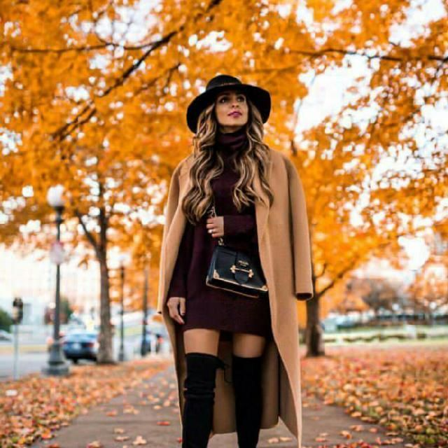 If you want to dress up for the evening then layer a sweater dress with a long boots and your coat for a sexy but …