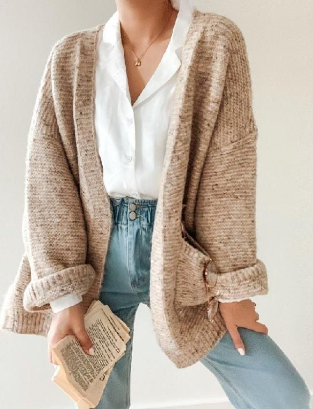 Open front cardigan & classic white shirt | | |