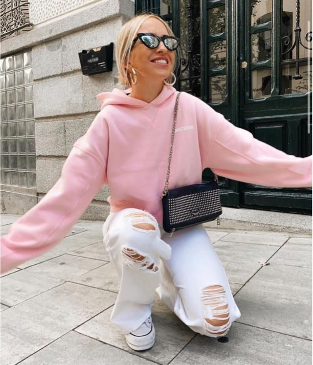 Pink hoodie is a soft colour for everyday outfit