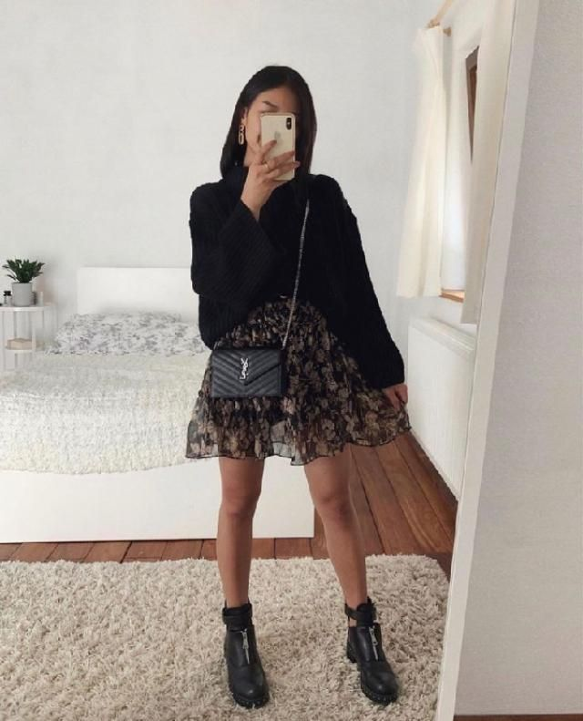 Sweater and skirt outfits are always in fashion for fall/winter seasons. | | |