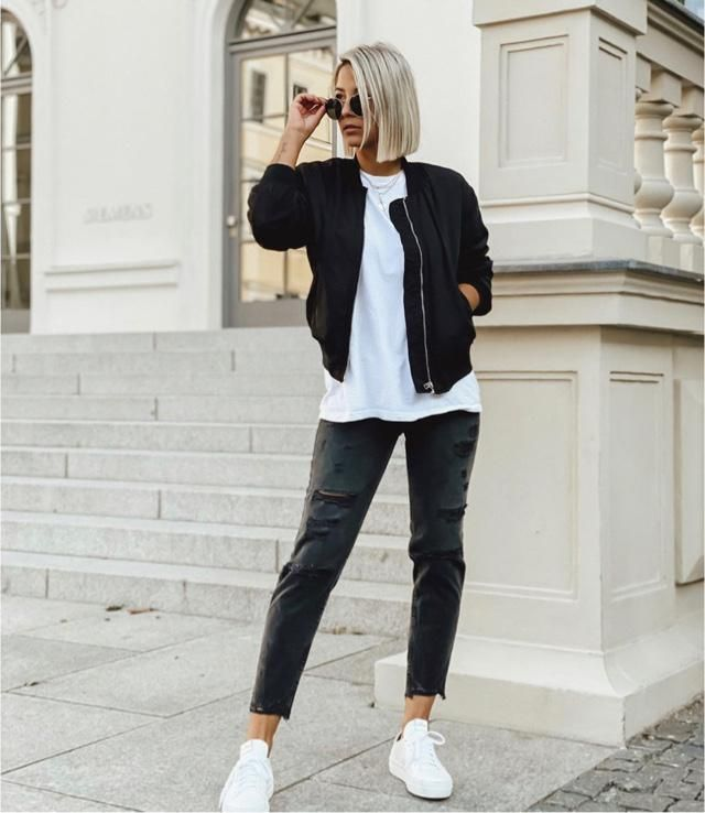 Wearing black jacket and black jeans is stylish too