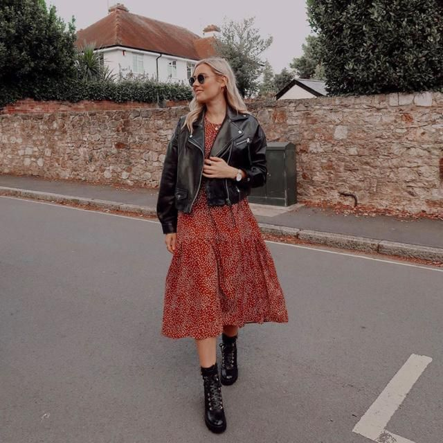 What a cute outfit to wear, leather jacket and polkadot dress