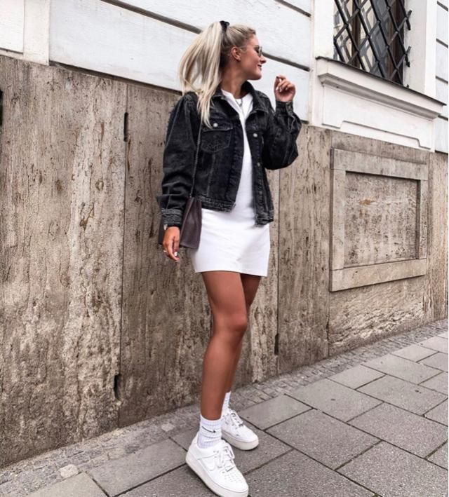 White dress and black denim jacket, what a combination