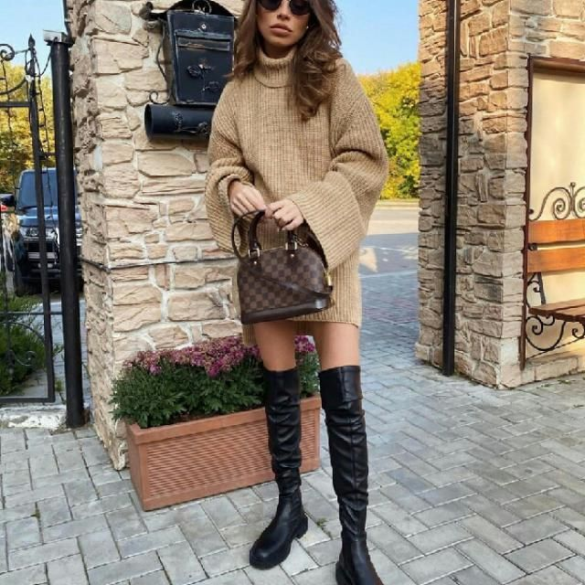 lovely sweater dress with long boots