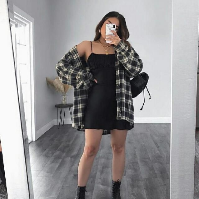 for an elegant and simple look try a chic short black dress with comfy plaid jacket