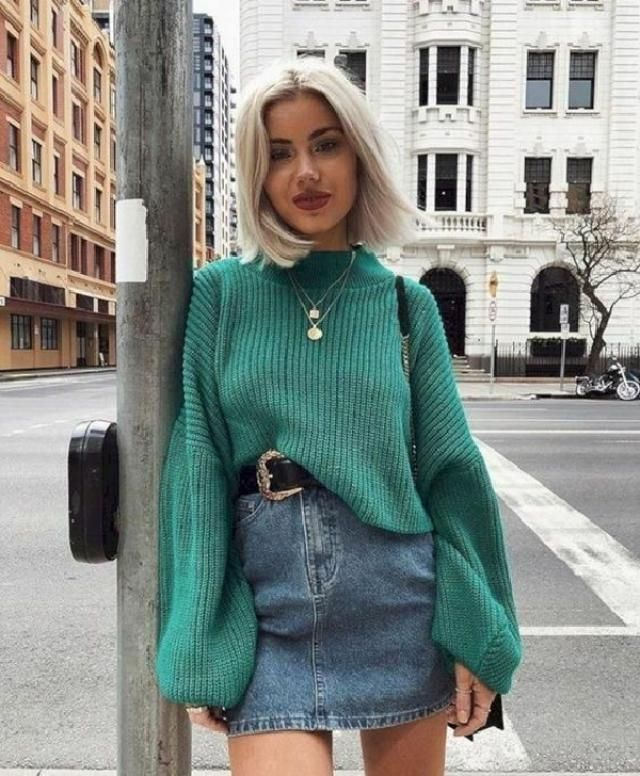 Wonderful look with green sweater and blonde hair. | | |