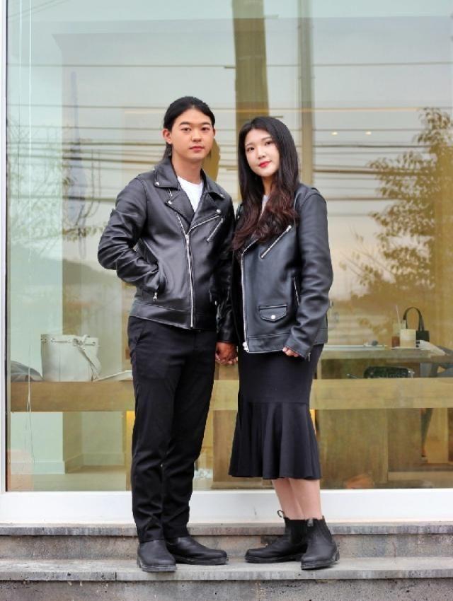 Rider jacket couple look   instagram: bb_stg ☜ fashionista