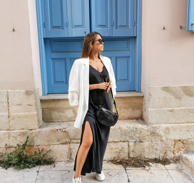 Not that difficult to combine a maxi dress with jacket