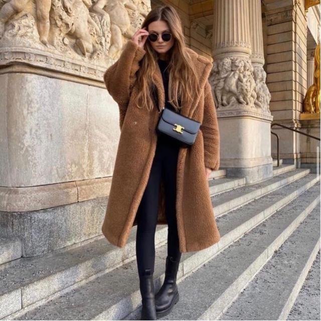 Fuzzy warm long coat