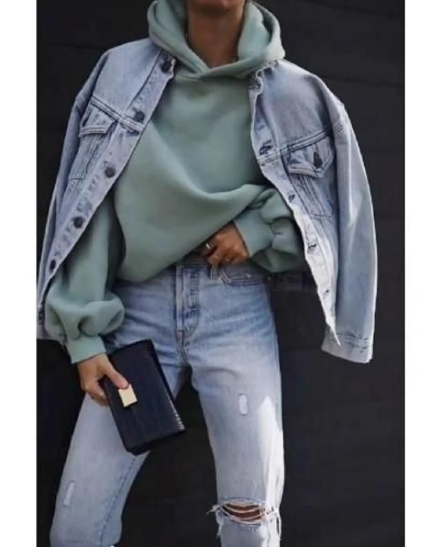 Combination of denim jacket and a hoodie is very easy to do and so comfortable to rock a version of througho…