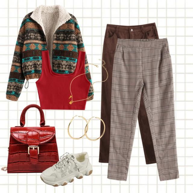 Ron Weasley inspired outfit! With pattern, warm clothes and Gryffindor's gold and red!