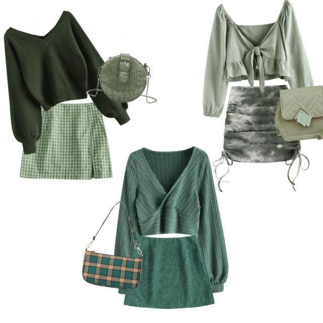 Monochromatics series: green Tip: a dark green high heels would really make these looks seem chic.   …