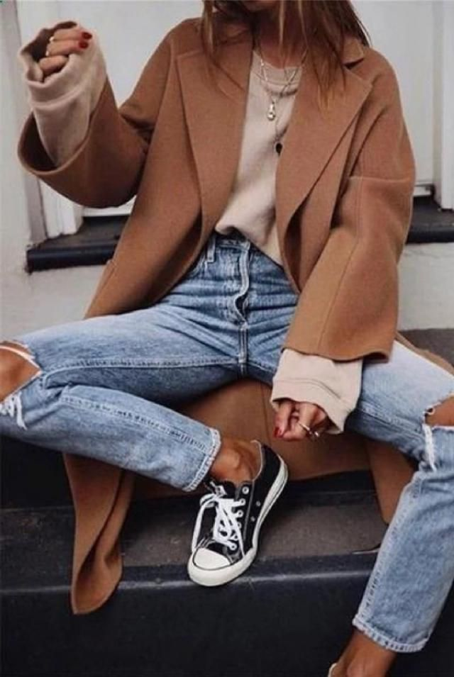 Ripped jeans and a long coat are also must- haves in your chic fall/winter casual wardrobe.  | | |