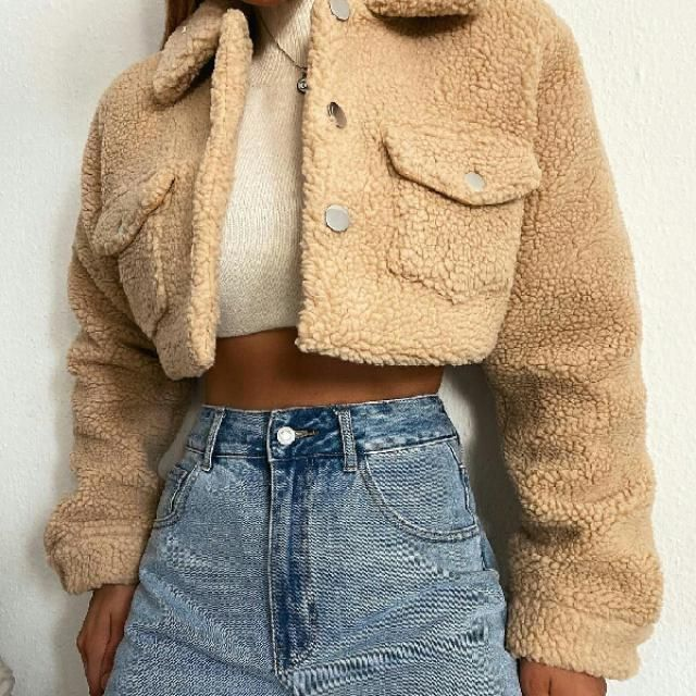 button up teddy cropped jacket