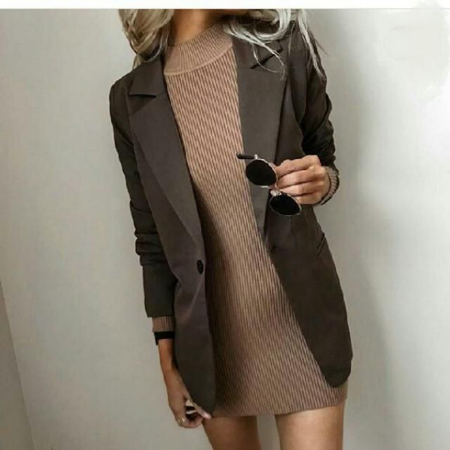 for a chic sexy look try a long blazer over a cute sweater dress and boots